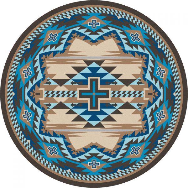 Aqua and tan round rug