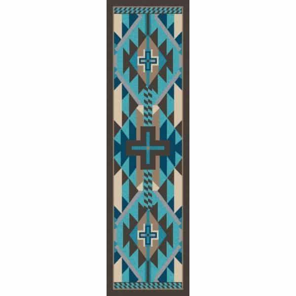 Aqua runner rug