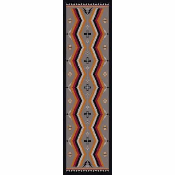 Gray, orange, and rust rug