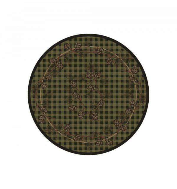 Plaid green round rug