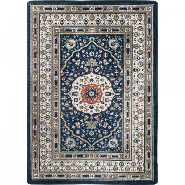 Elegant blue and tan rug