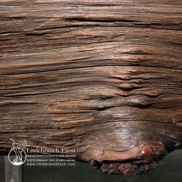 Burl nodules on live edge redwood