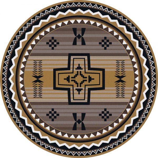 Southwest gray round rug