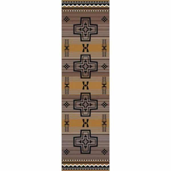 Runner rug in gold and gray