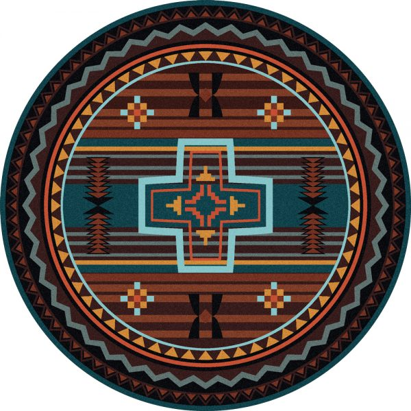 Southwest round rust rug