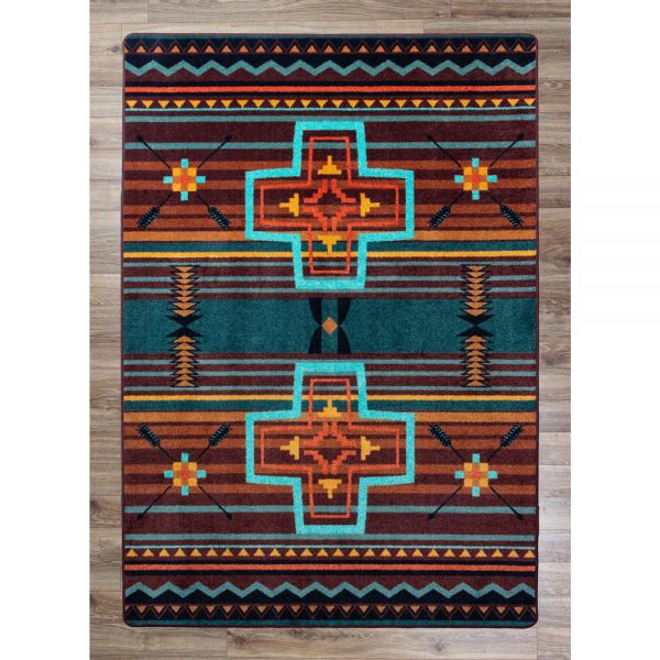 Southwestern cross rug in teal and rust