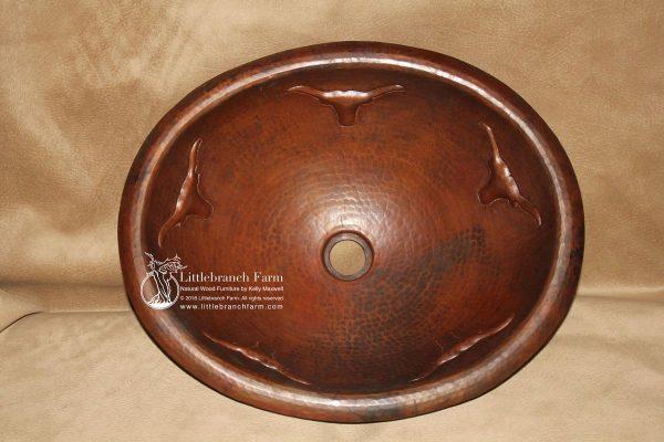 Round Texas long horn copper sink