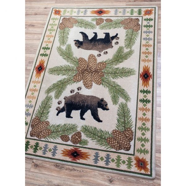 Pine cone and bear camp rug