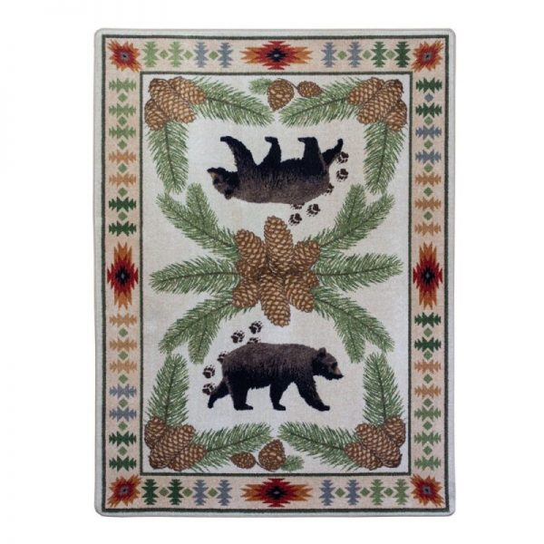 Black bear camp rug