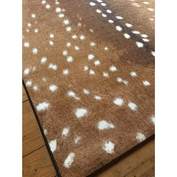 Closeup of fawn deer rug detail
