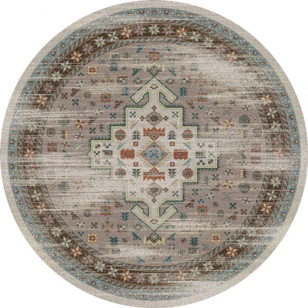 weathered round persian rug