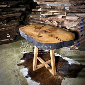 Natural wood slab dining table