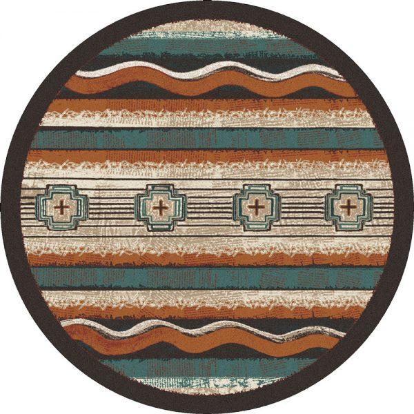 Round old school rug