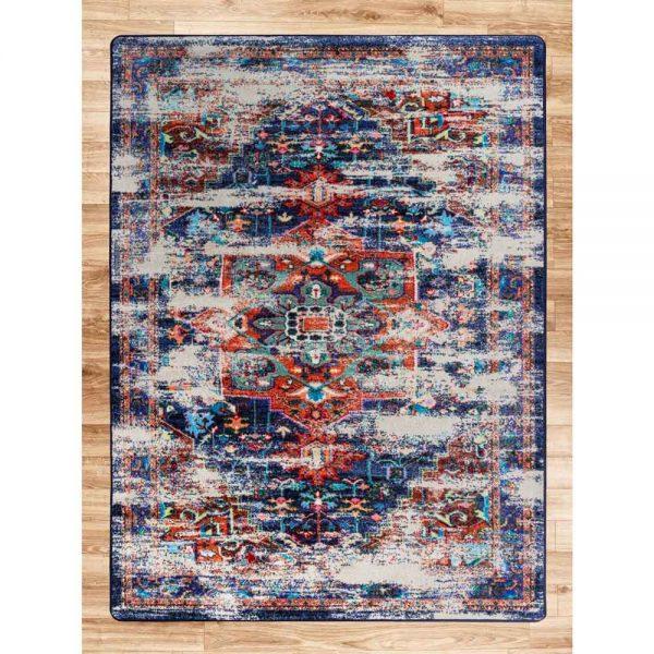Distressed wildflower rug design.