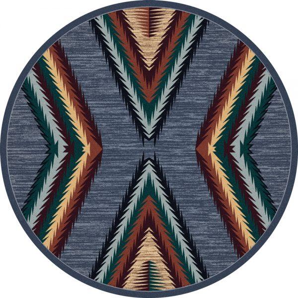 Gray X round rug
