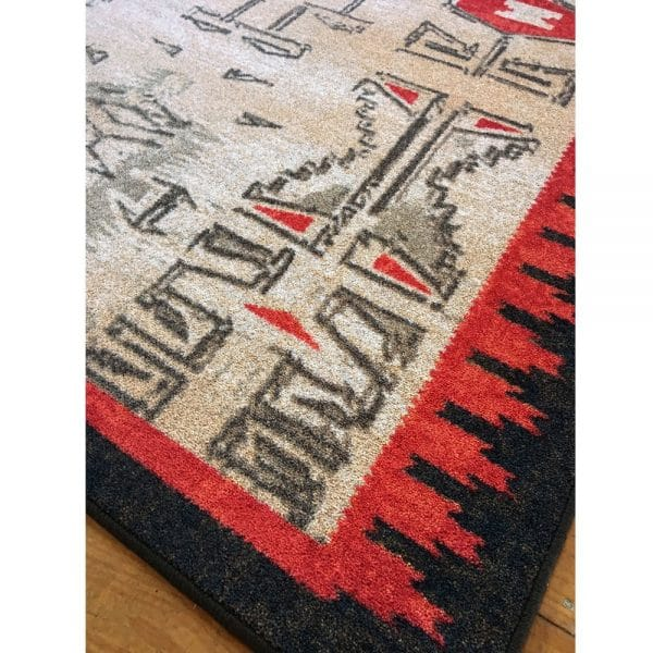 Red and black rug detail picture