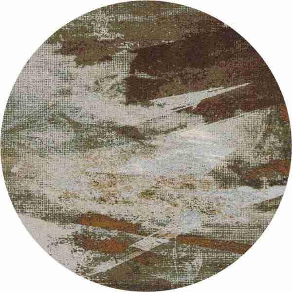 Abstract greenish round rug