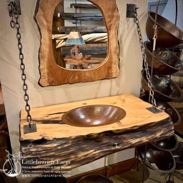 Juniper wood slab with mirror