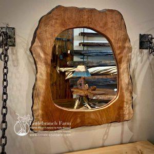 Custom rustic redwood mirror
