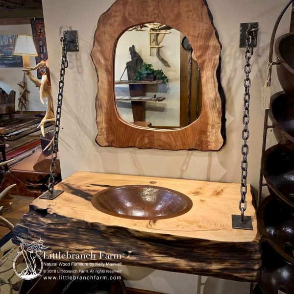 Natural wood slab and rustic mirror