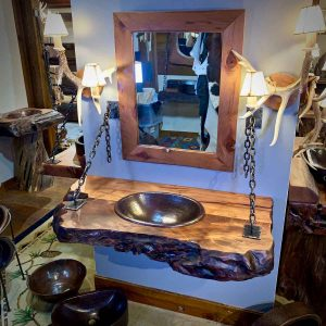 wood slab floating vanity