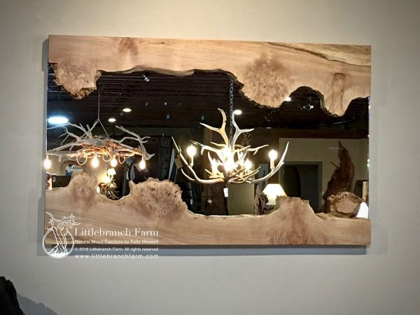 river mirror with antler chandeliers