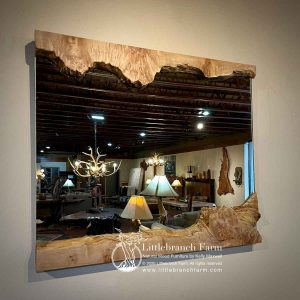 Maple burl wood live edge mirror.