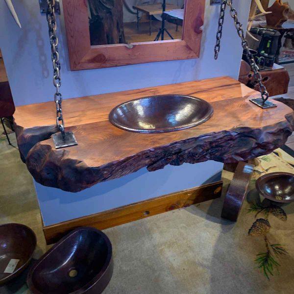 Redwood wood slab floating vanity