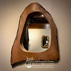 Natural redwood rustic mirror