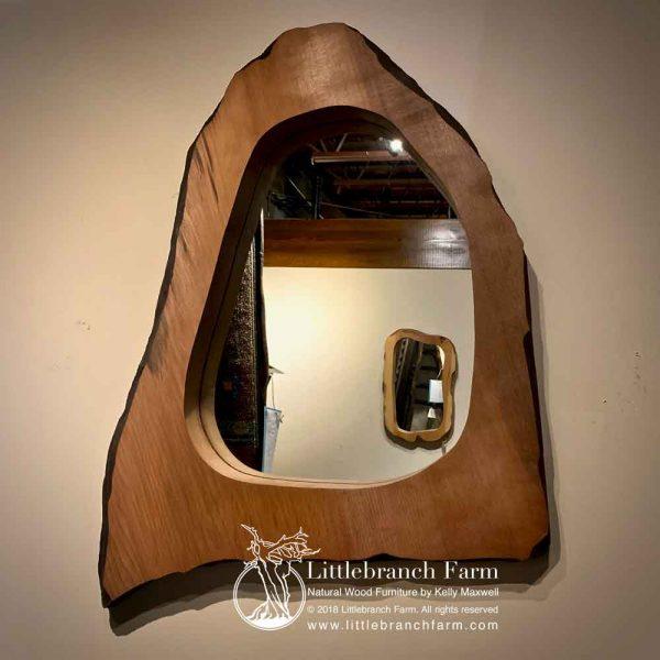 Natural redwood rustic mirror