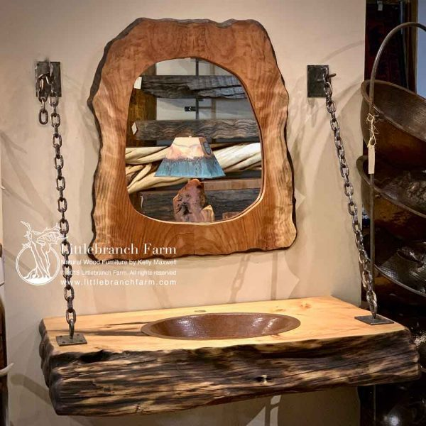 Floating vanity with live edge mirror