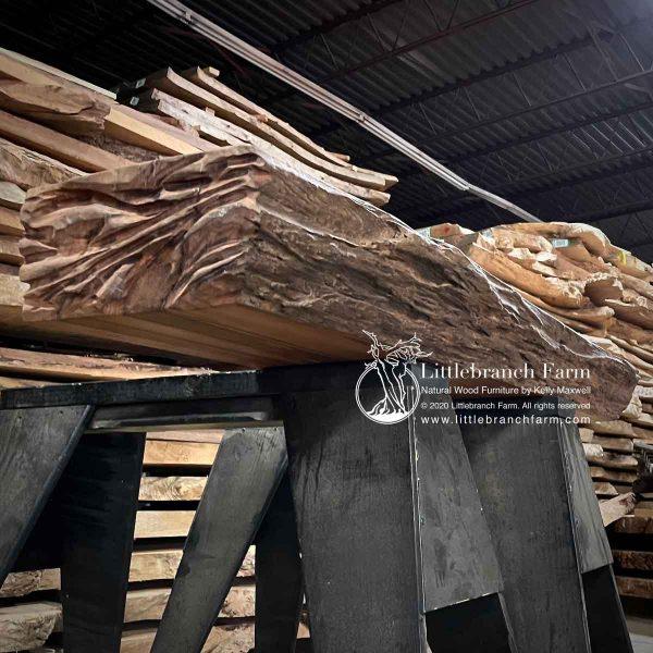 Live edge log fireplace mantel