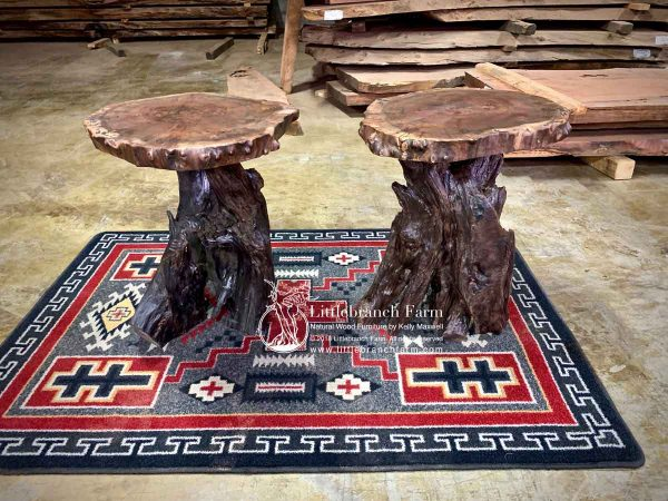 Natural wood rustic end tables