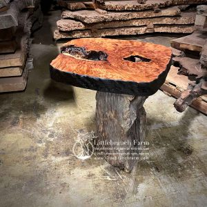 Natural wood rustic end table