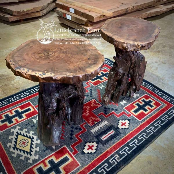 Live edge tables on southwest rug