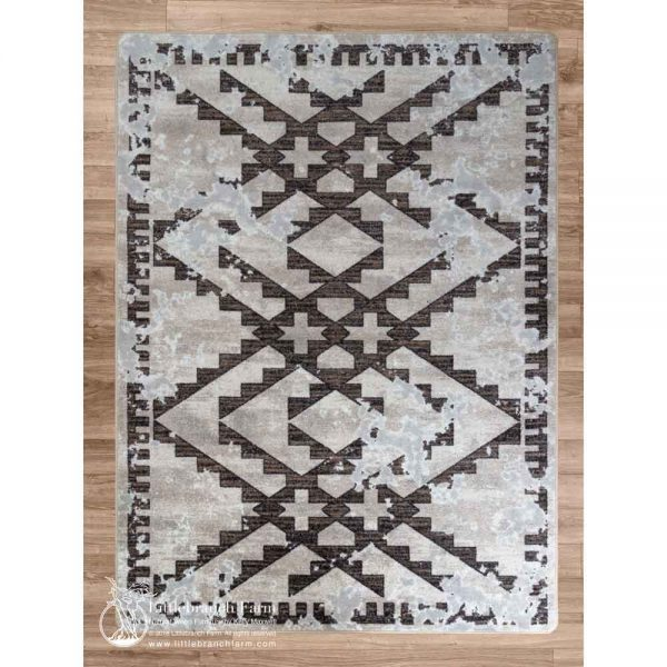 Distressed fresco area rug