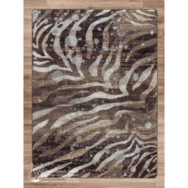 Silver splash design on modern zebra area rug.