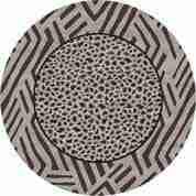 Round leopard rug design.
