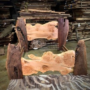 Natural burl wood live edge bed