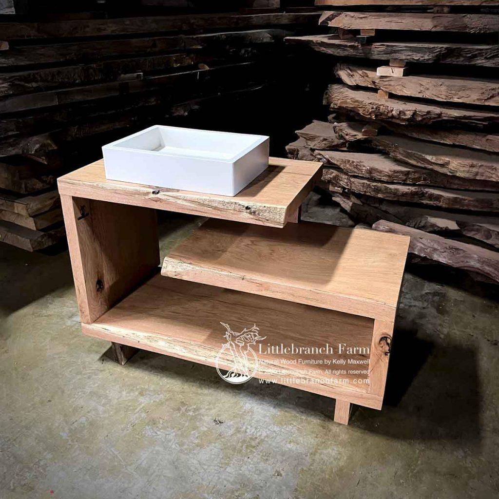 Natural wood oak bathroom vanity.