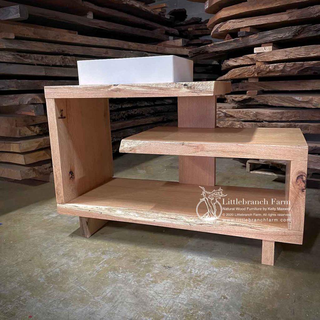 Modern wood plank bathroom vanity.