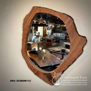 Live edge redwood mirror.