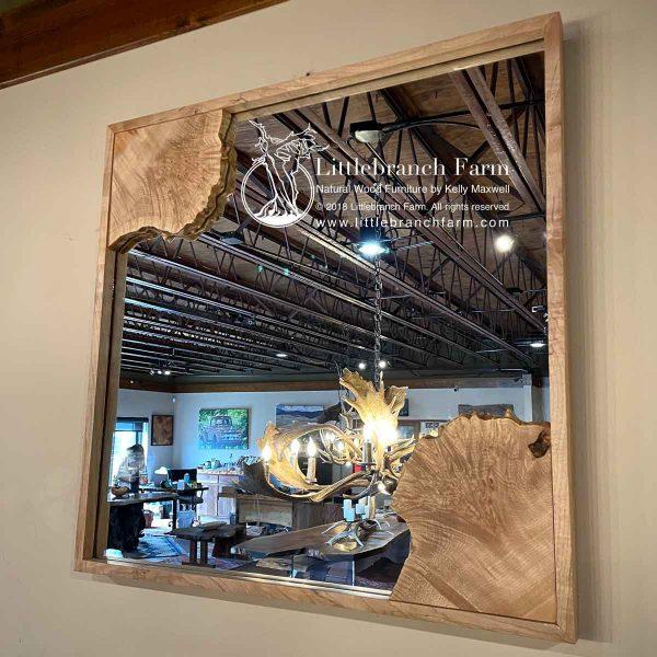 Maple burl natural wood mirror.