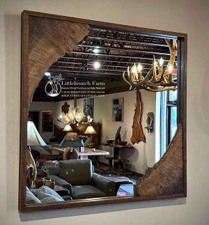 Rustic natural wood mirror